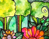 Giclee on wood block  5 x 7 flower trees sun leaves colorful drawing mixed media hand embellished