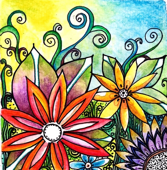 Original 5 x5 watercolor and ink The Garden flowers leaves,garden,floral,landscape,