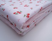 40% OFF SHOP SALE code take40, Baby Girl Minky Blanket / Cherries