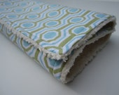 Baby Boy Chenille Burp Cloth / Geometric Tile