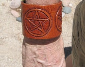 Hand Tooled Leather Cuff- Trio of Pentacles- Tan