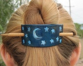 Hand Stamped Leather Barrette/Ponytail Holder- Moon and Stars
