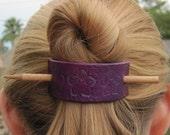 Hand Stamped Leather Barrette/Ponytail Holder-  Purple Celtic Flower