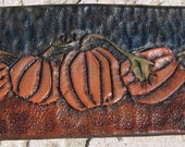 Hand Tooled Leather Cuff- Pumpkin Patch