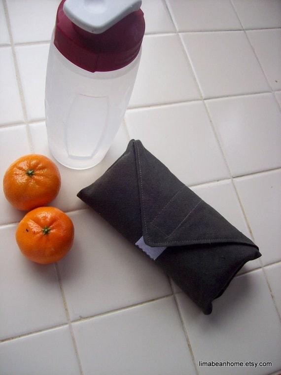 Reusable Wrap for Sandwich Wraps in dark brown hemp--FREE SHIPPING