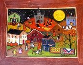 Contemporary Primitive Folk Art Painting Halloween Ghost Moon Witches Canvas