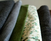linen, wool, cotton REMNANTS charcoal, grey, green (10 pieces)