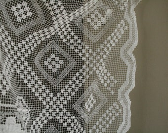 "CROCHET LACE FABRIC - 30"" x 90"" . one piece"