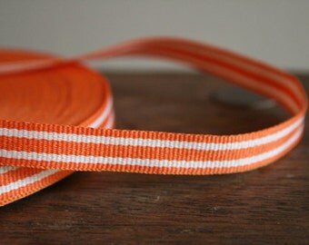 orange and white stripe COTTON TAPE. 3 meters. supplies by runningthreads