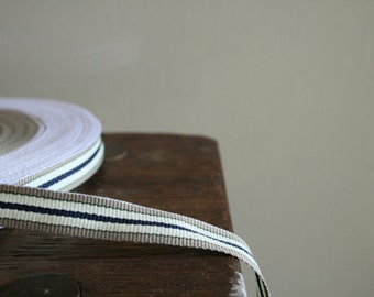 3 meter COTTON TAPE with navy, cream and beige stripes. etsy australia