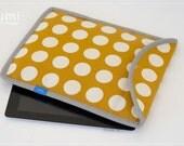 iPad Case, Sleeve, Envelope, Cotton & Linen, Canvas, Polka dot, Mustard, Autumn