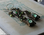 PaRaDiSe - Vintage Filigree and Glass Earrings
