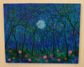 Thursday special 50 % off- Original oil painting Modern Impasto Palette knife Abstract- Large-  Night Summer Trees and flowers under Moon  -  by Vadal