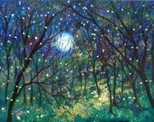 Fireflies under springtime moon  12 x 18   buy 2 get 1 free Vadal