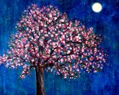 Cherry Tree moon-   PRINT by Vadal  size 8x10 buy 2 get 1 free