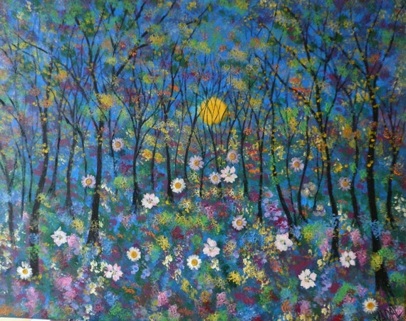Original large acrylic painting-Sunshine Meadow-  125-gallery price 1200-ONE DAY SALE now just 89 with free shipping