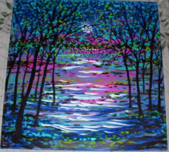 Pres. Sale  45% off Original large painting Spring Stream and  trees under Moon  by Vadal -Free shipping in cont US