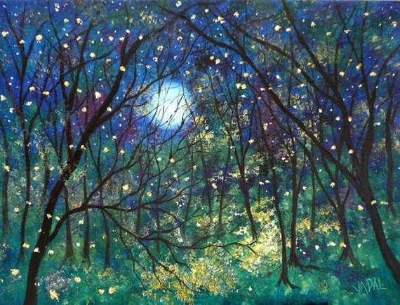 Fireflies under the springtime moon  12 x 18  by  Vadal