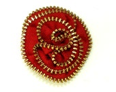 Zipper Rosette Brooch in Red/Gold - LIMITED EDITION