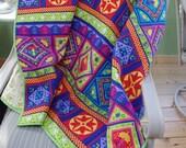 Large Colorful Lap Quilt, Green, Orange, Blue, Red, Pink, Purple