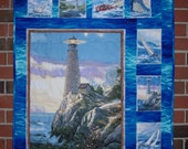 """Sailboat, Lighthouse, Quilted Wall Hanging, """"Tranquil Times"""""""