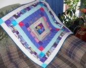 """Purple Art Quilt Wall Hanging, """"Puzzling Expressions"""""""