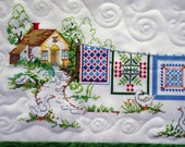Quilted Counted Cross Stitch Wall Hanging, Quilts Out to Dry