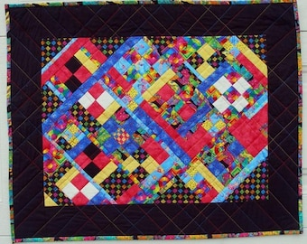Detailed Diagonal Art Quilt Wall Hanging, Small Fabric Pieces, Colorful