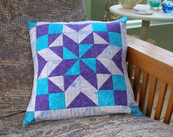 Star Quilted Pillow Cover, 16 Inch, Purple, Turquoise