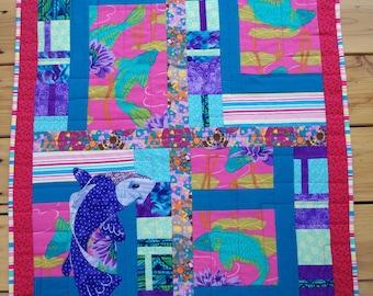 Koi Fish Quilted Art Wall Hanging, Koi Transformation, Fiber Art Quilt, Quiltsy Handmade