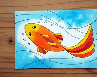 ACEO Watercolor Mini Painting, Koi Fish, Art Trading Card