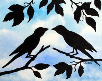 Original Acrylic Painting, Two Little Birds