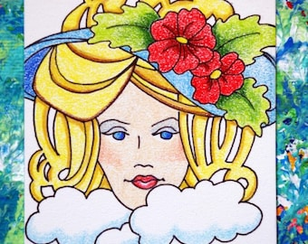 Pretty Lady ACEO Original Colored Pencil Drawing, Artist Trading Card