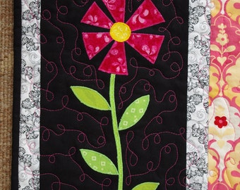 Spring Flower Quilted Wall Hanging, black, pink, stripes, fiber art, wall decor
