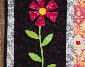 Flower Art Little Quilt Wall Hanging, black, pink, stripes