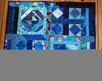 Contemporary Blue Art Quilted Wall Hanging, Table Topper, Quiltsy Handmade