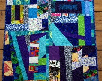 Contemporary Scrap Quilted Wall Hanging, Fun Quilt, Blue, Purple, Quiltsy Team