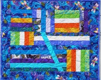 "Bright Art Quilt Wall Hanging ""Fun Festivities"""