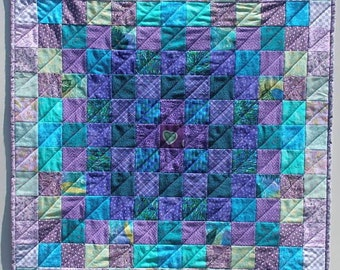 Purple Quilted Wall Hanging, Table Centerpiece, Quiltsy Handmade, Quilted Squares
