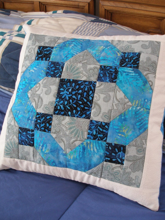 Blue, Gray, White, Quilted Pillow Cover, 16 Inch, Quiltsy Handmade