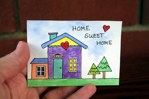 "ACEO Original Mini Watercolor Painting, ""Home Sweet Home"""