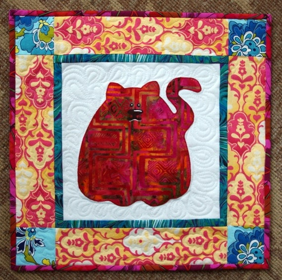 Whimsical Cat Quilted Wall Hanging