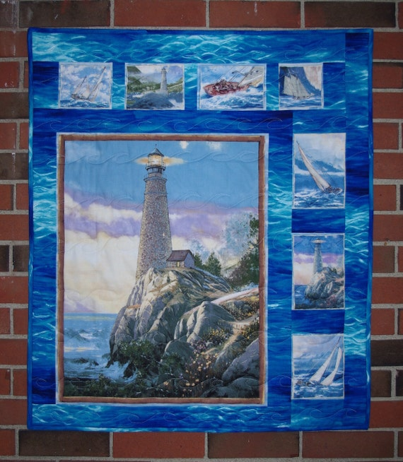 "Sailboat, Lighthouse, Quilted Wall Hanging, ""Tranquil Times"""