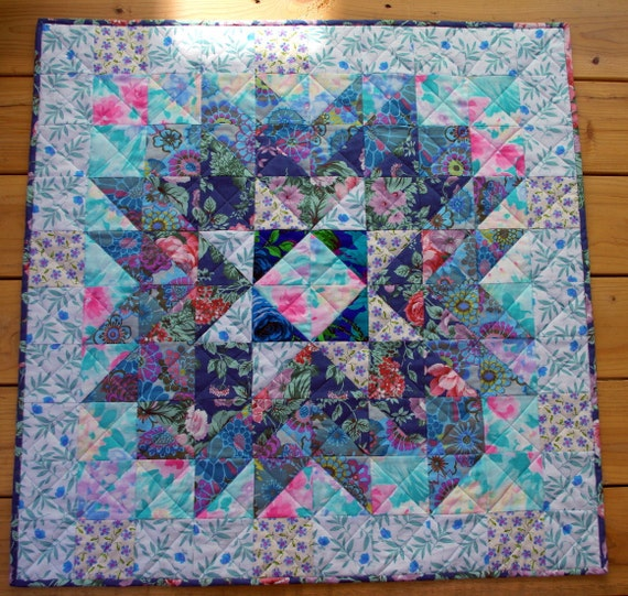 Star Quilted Wallhanging Traditional Blues Worldwide Quilting Day