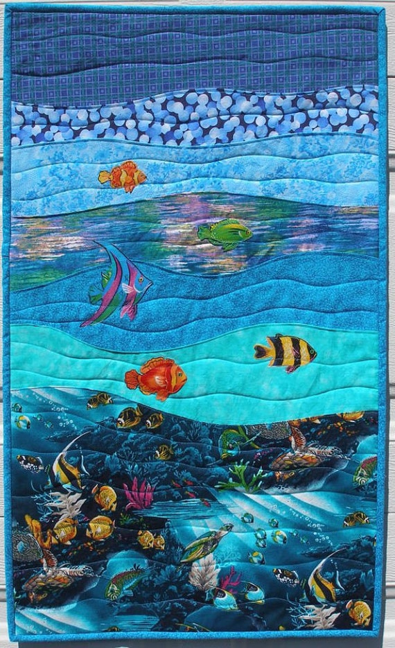 Art Quilt Wall Hanging Under The Sea