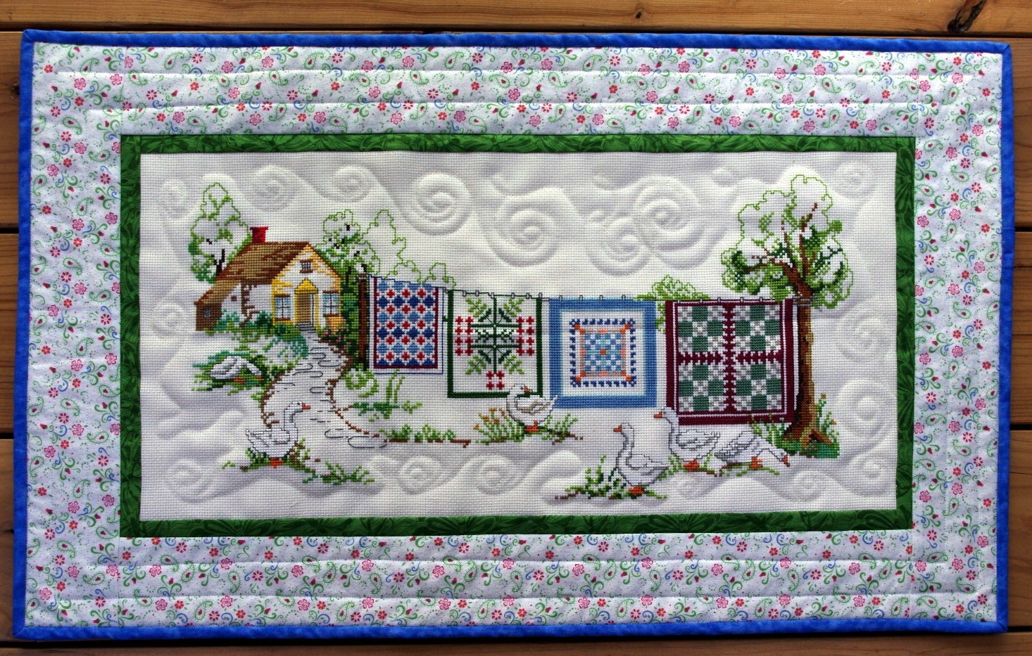 Quilted Counted Cross Stitch Wall Hanging Quilts Out To Dry