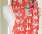 Woven Cotton Scarf  Voile Lobster  Red and Blue