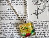 yellow rose, pendant necklace, jewelry, original art necklace, art print, glass pendant