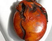 Japanese Amber Heart with Crawling Monkey