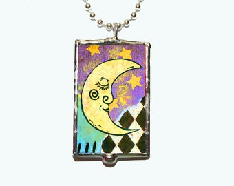 Moon Wind Collage Soldered Glass Silver Plated Ball Chain Necklace